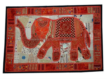 Indian Tapestry Wall Hanging wall tapestry,wall hangings & large vintage elephant art
