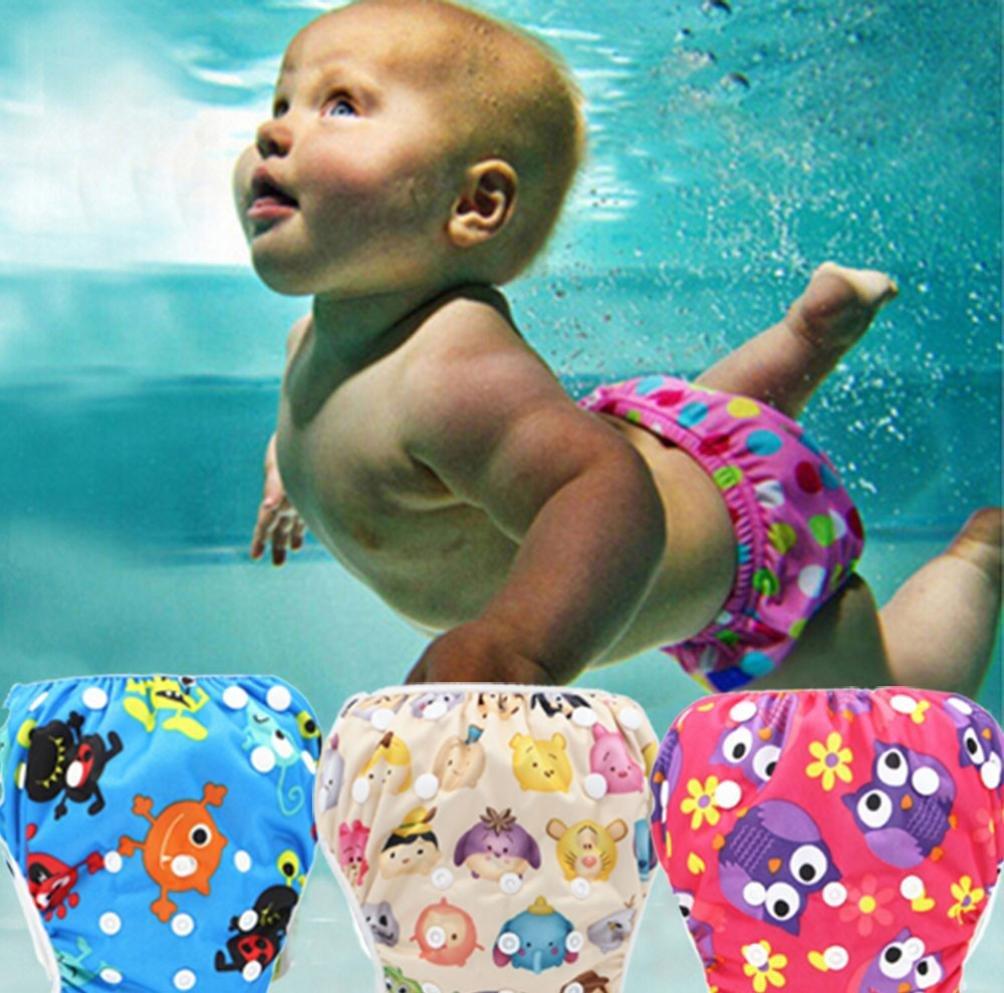 Baby Swim Diaper Reusable Leakproof Elastic Infant Pool Pant Toddler Boys Girls Adjustable Swimwear Swimming Trunks Shorts For 0-3 Years Baby (R18, Elastic Button Adjustable)