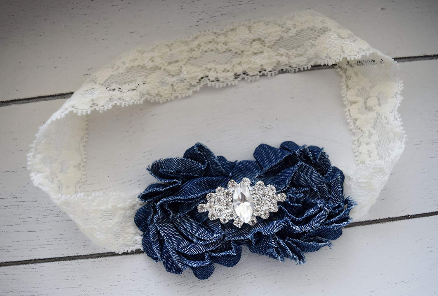a3854bb4b78a2 Denim and Lace - Denim Headband - Blue Jean Headband - Ivory Lace Headband  - White Lace Headband - Denim Flower Girl - Country Wedding Bows