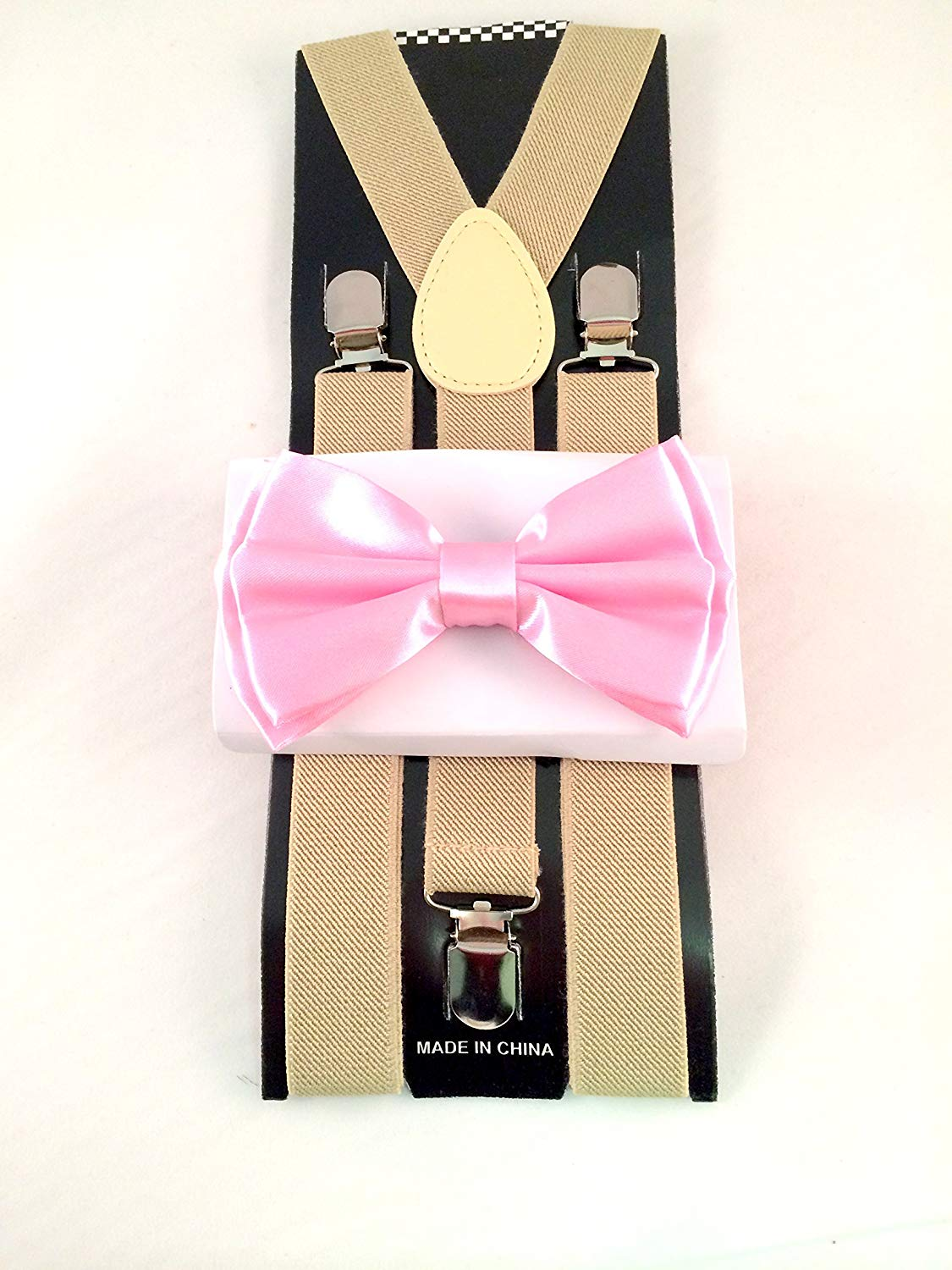dc14837e8d7b Get Quotations · Tan SUSPENDER and Pink BOW TIE Matching SET Tuxedo Wedding  Suit