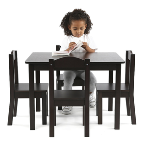 Kids wood study table chairs set bedroom children furniture