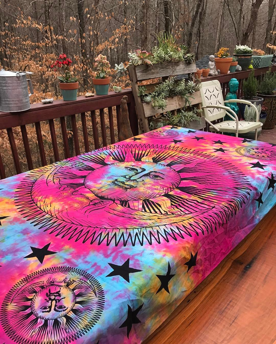 Psychedelic Celestial Sun Moon Stars Tie Dye Tapestry, Hippie Hippy Wall Hanging, Indian Tapestry, Sun-moon Tapestry, Celestial Tapestry