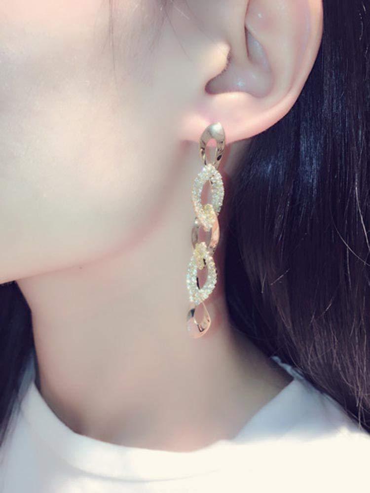 Fashion Earrings Earring Dangler Eardrop Exaggerated Long Trend Type Creative Diamond Geometric Women Girls (Golden