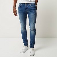 2018 New fashion mens mid blue wash Sid skinny stretch jeans