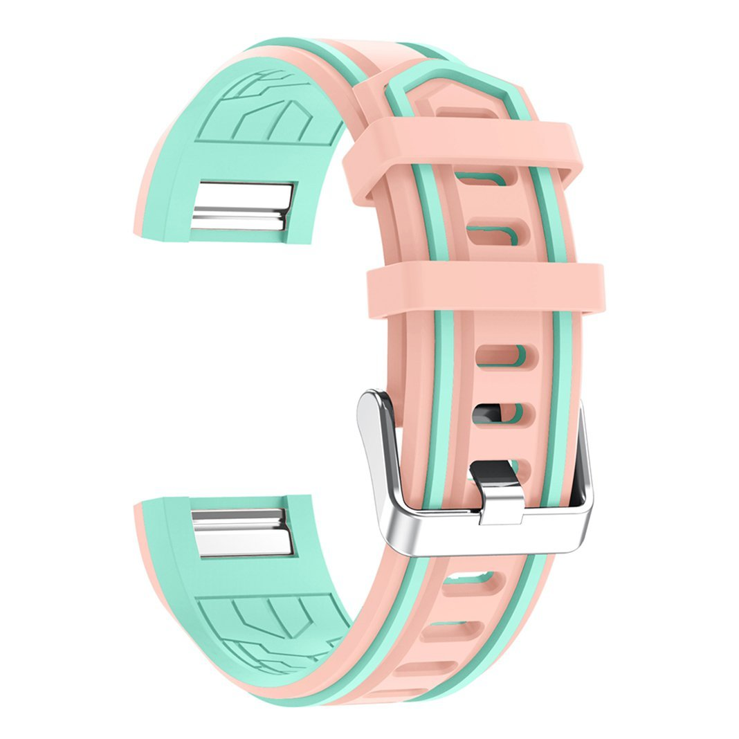 For Fitbit Charge 2 Band Silicone Band, AnGolf Fitbit Soft Silicone Smart Watch Bands Adjustable Replacement Band with Metal Bracelet Buckle Clasp for Fitbit Charge 2 Fitness Accessories-Pink/Green