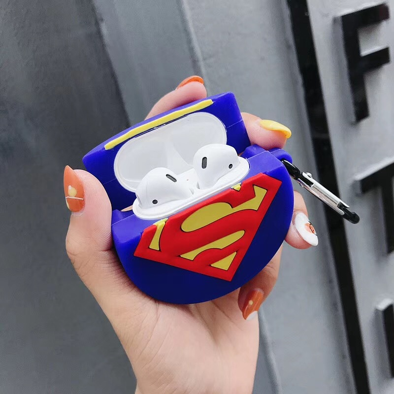 3D Cartoon round shape Silicone Cases For Apple Air-pods Protector Cover with Finger Ring Strap