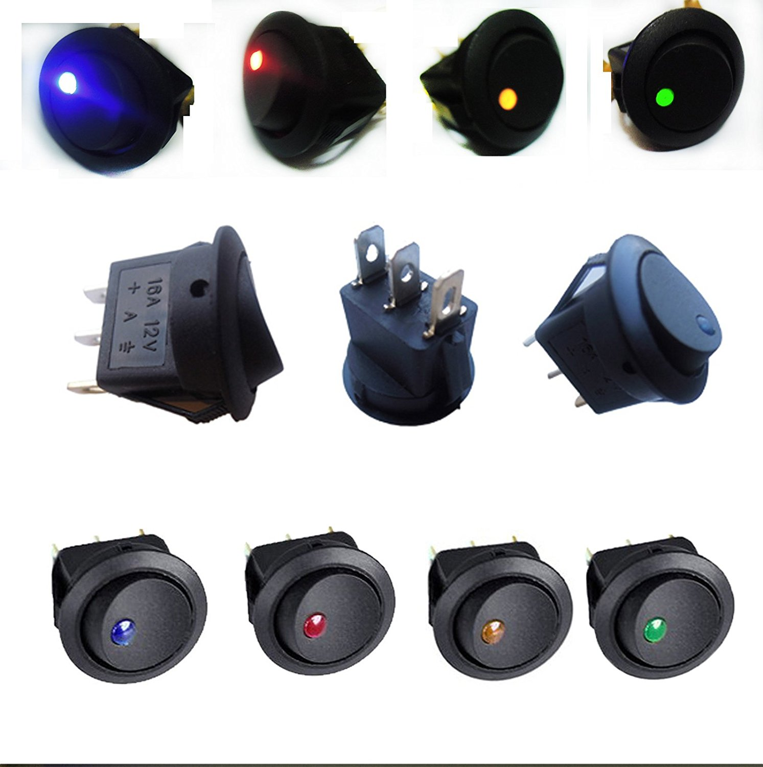 Cheap Toggle Switch Spst Find Deals On Line At 12v Lighted Rocker All Electronics Corp Get Quotations Amazingseller Lot20 4color Car Round Boat Led Light Off