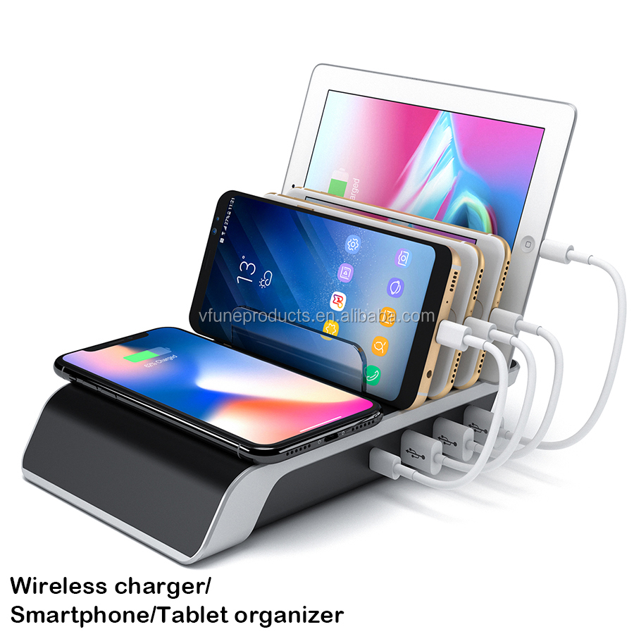 2019 New Arrival Multifunctional Car Charger Wireless QI Wireless Charger with LED