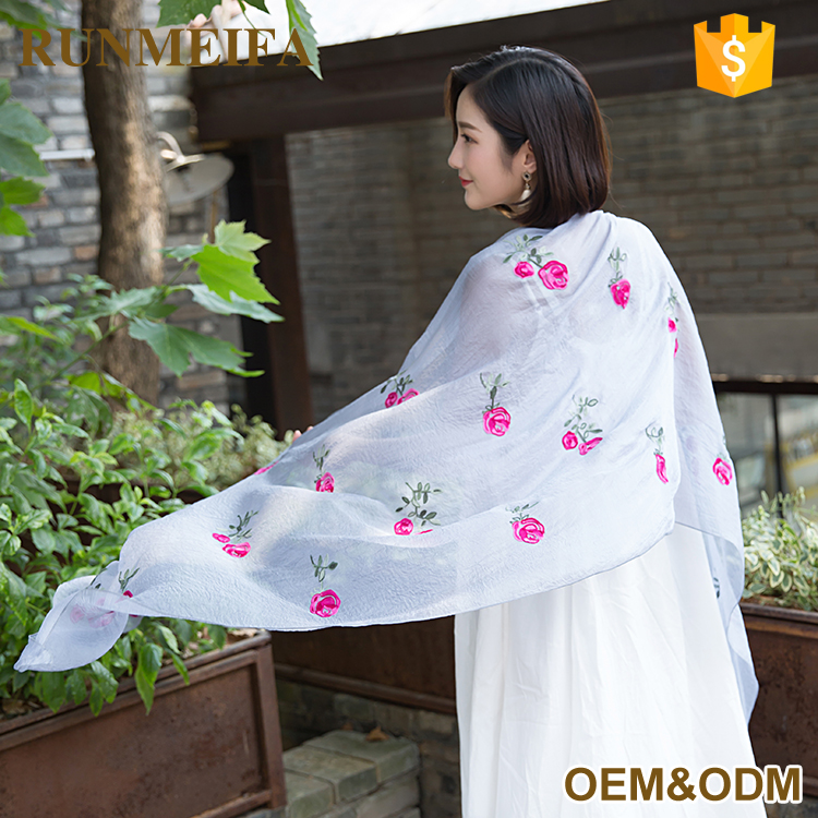 Wholesale Fashion Embroidery Scarf/ Magic Cotton Scarf Shawl