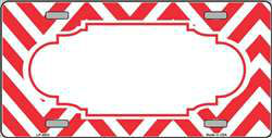 Red/White Large Chevron Frame Customizable Wholesale Metal Novelty License Plate Tag Sign Blanks