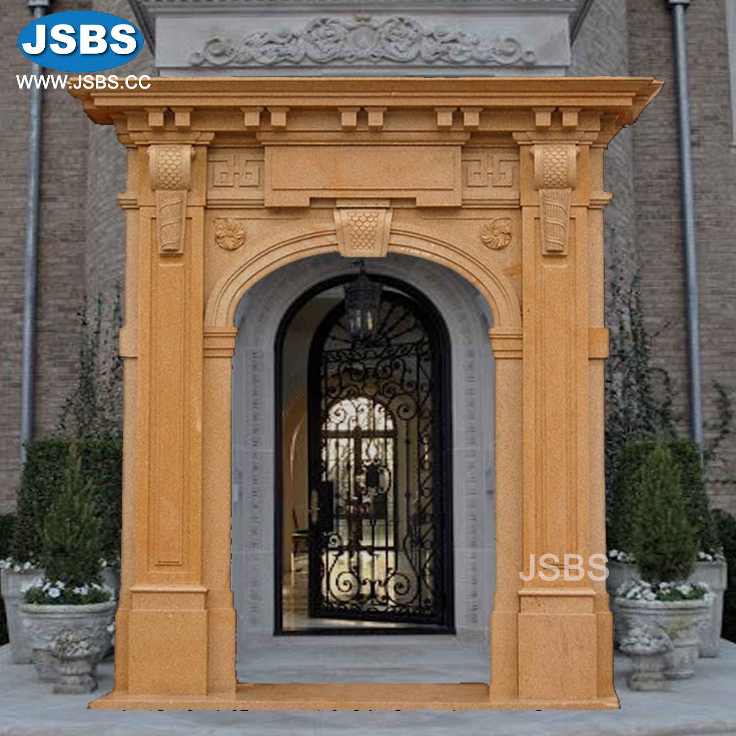 Indian Decorative Arched Hand Carved White Stone Home Front Door Product