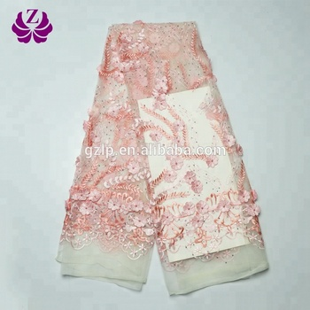 New sample lace appliques wholesale 3d embroidered lace fabric with rhinestone