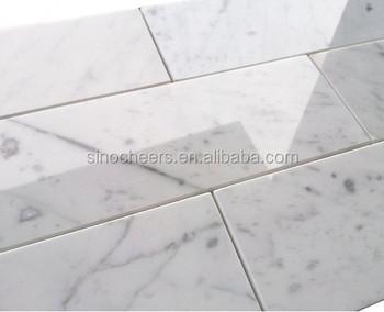 Premium 3x8 Carrara Bianco White Marble Subway Tile