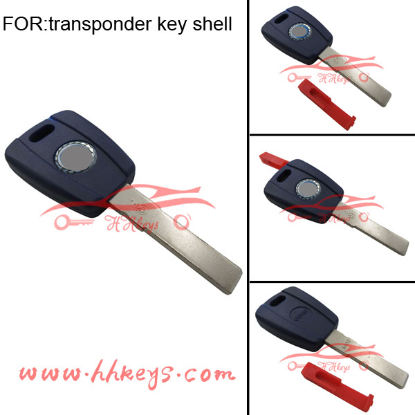 Fiat transponder key blank blue cover replacement with SIP22 blade/logo/red plug