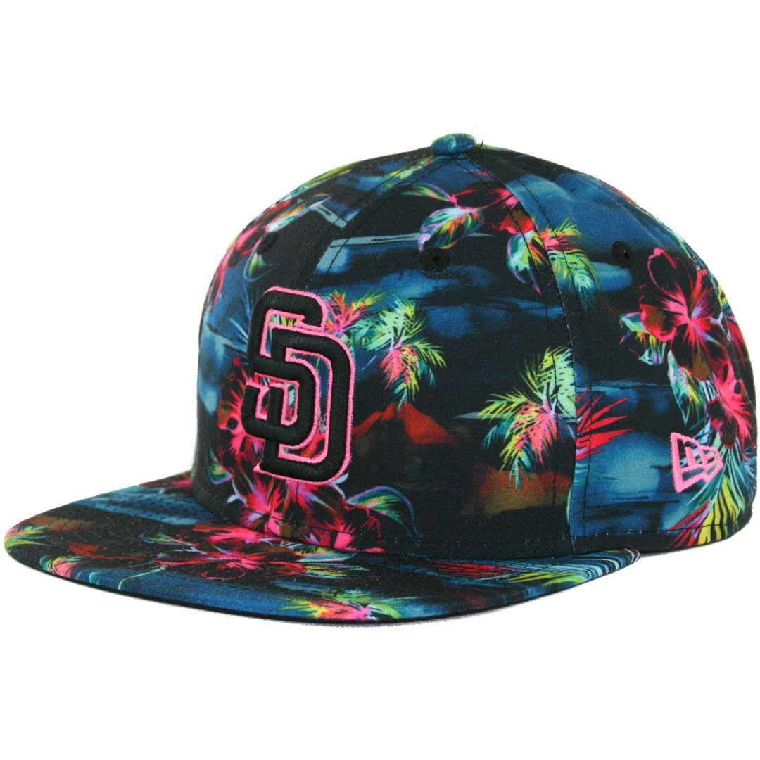 a874fc7056cb6 Get Quotations · New Era 9Fifty San Diego Padres Snapback Hat (Dark Neon  Floral) Custom MLB Cap