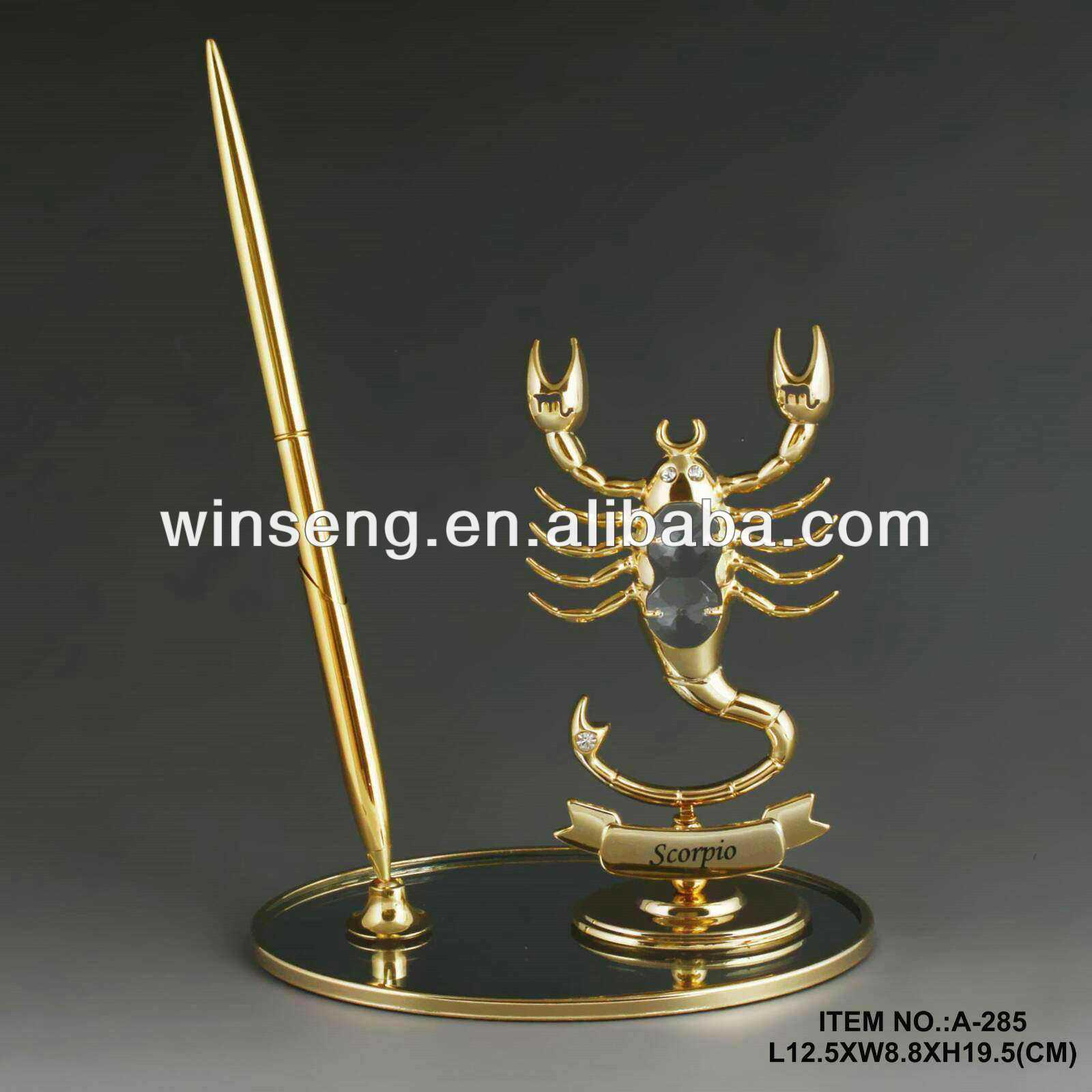 Hot Sale 24K gold plated Zodiac Scorpio Pen Set made with swarovski elements