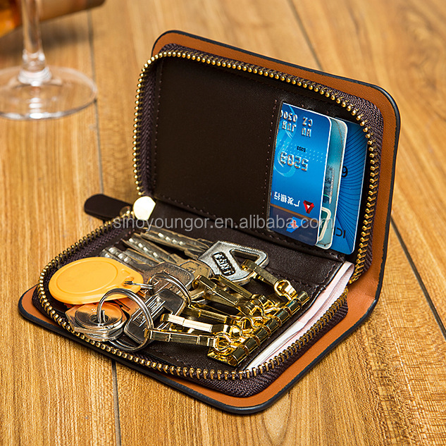 Multi-fonction men's wallet with keychain