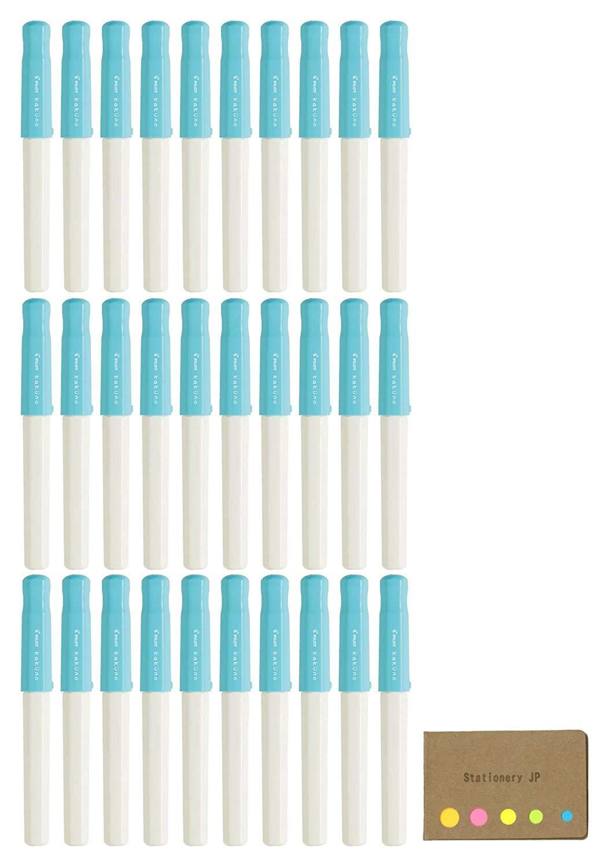 Pilot Kakuno Fountain Pen, Extra Fine Nib, Soft Blue Body, 30-pack, Sticky Notes Value Set