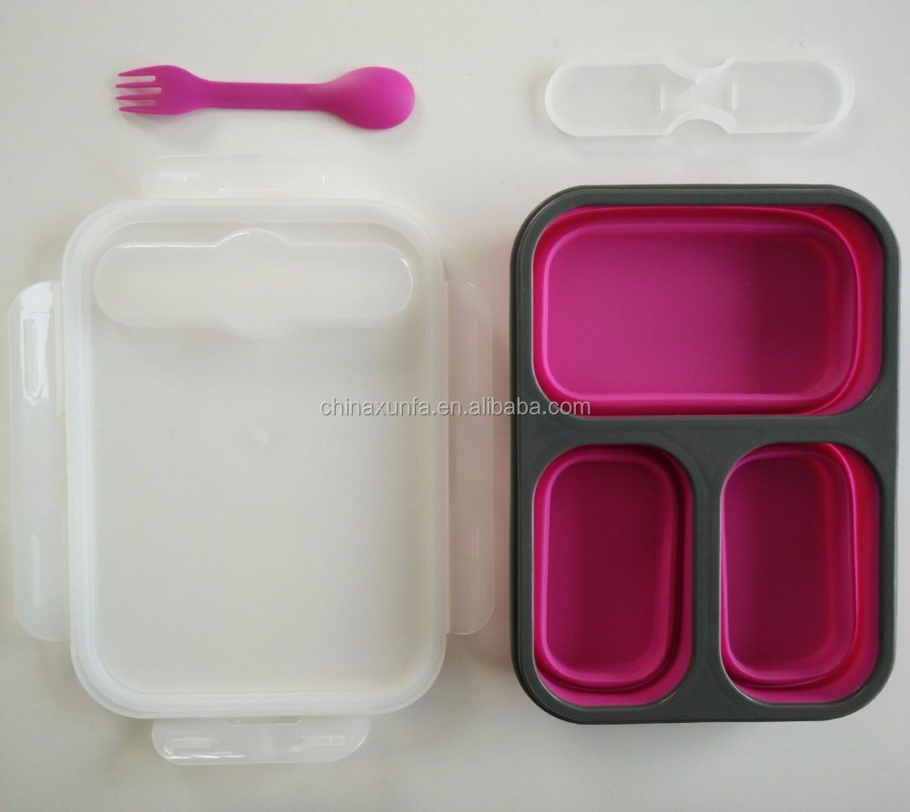 China made color food contain silicone 3 compartment meal prep containers food storage