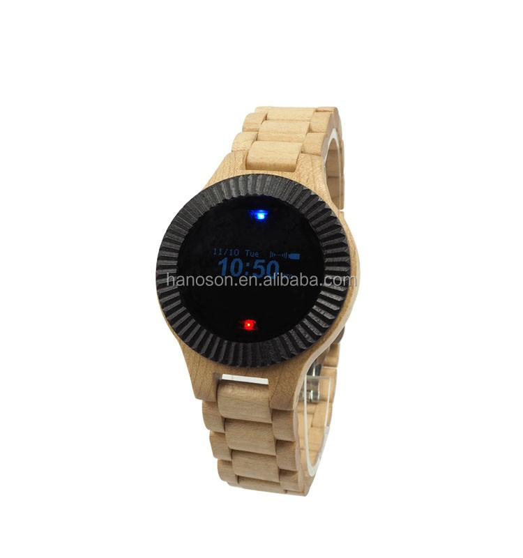 Wholesale Automatic digital Bamboo watch PK Mechanical wood watch from Hanoson