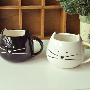 Zogift Best Selling Cup White Cat Animal Milk Ceramic Lovers Mug Cute Birthday gift, return Gift cartoon cup with handgrip