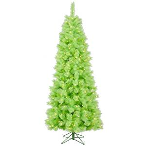Vickerman Pre-Lit Lime Green Mixed Pine Cashmere Christmas Tree with Clear Lights, 7.5'