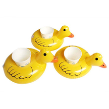 Mini Inflatable Yellow Duck Drink Cup Can Floating Holder Pool Floats Summer Swimming Party Ring Adults Kids Fun Water Toys