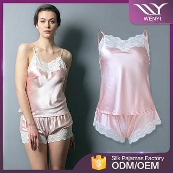 Top grade silk satin design pajamas dubai women sleepwear lady short nighty 73977ae33
