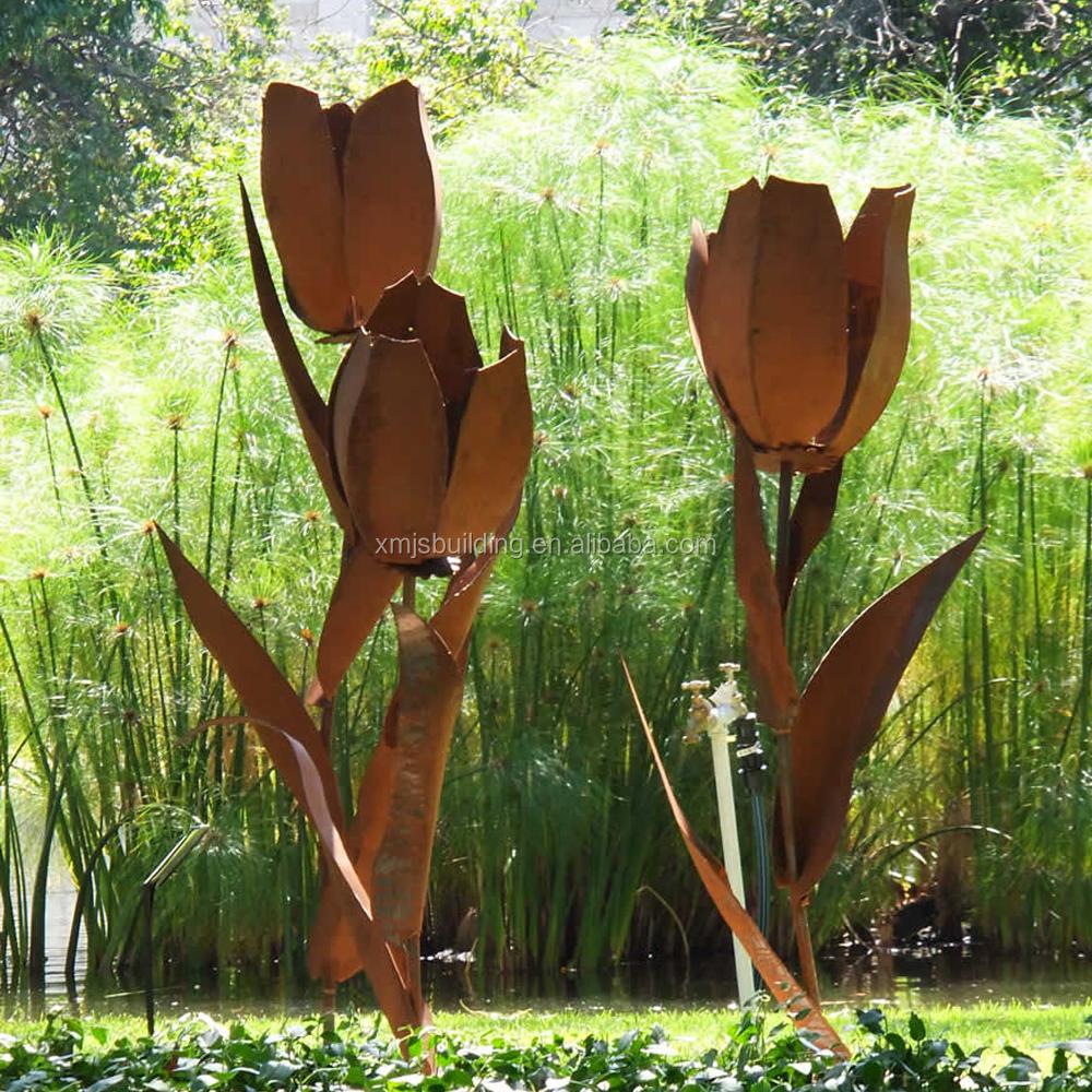 moderno atractivo de acero corten escultura flor de metal adornos de jardn al aire libre