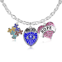 Silver tone blue badge charm austism awareness crystal puzzle charm and hope pink crystal heart charm toggle clasp necklace