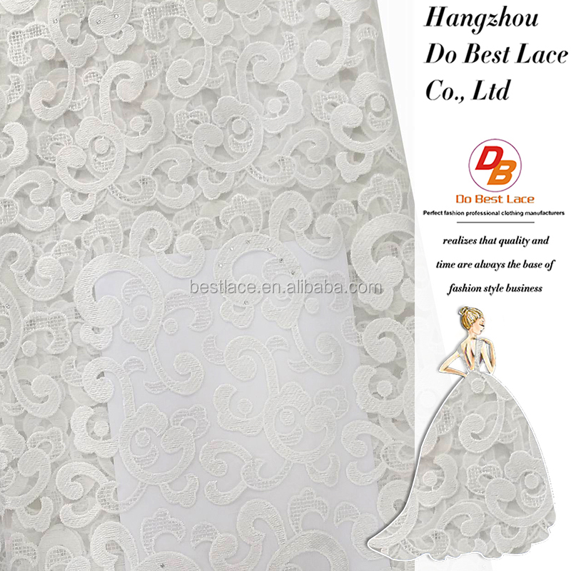High quality cheap polyester water soluble net lace fabric