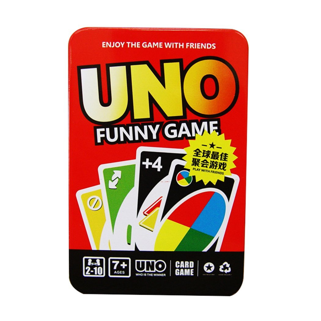 Exquisite Packaging XL UNO Card with Metal Box, Card Game Set Classic Party Family Fun Games