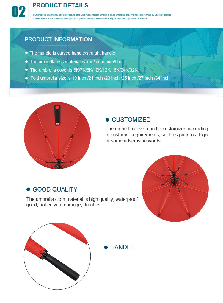 2018 custom red promotional golf umbrella with logo printing