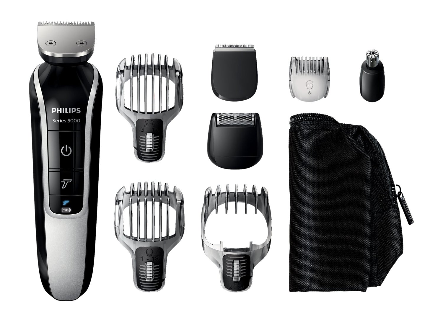 Philips Series 5000 12-In-1 Mens Grooming Kit QG3362/23, Beard Trimmer with Hair Clippers, Moustache, Stubble, Detail Shaving, Trimming, Nose Hair and Eyebrow Trimmers