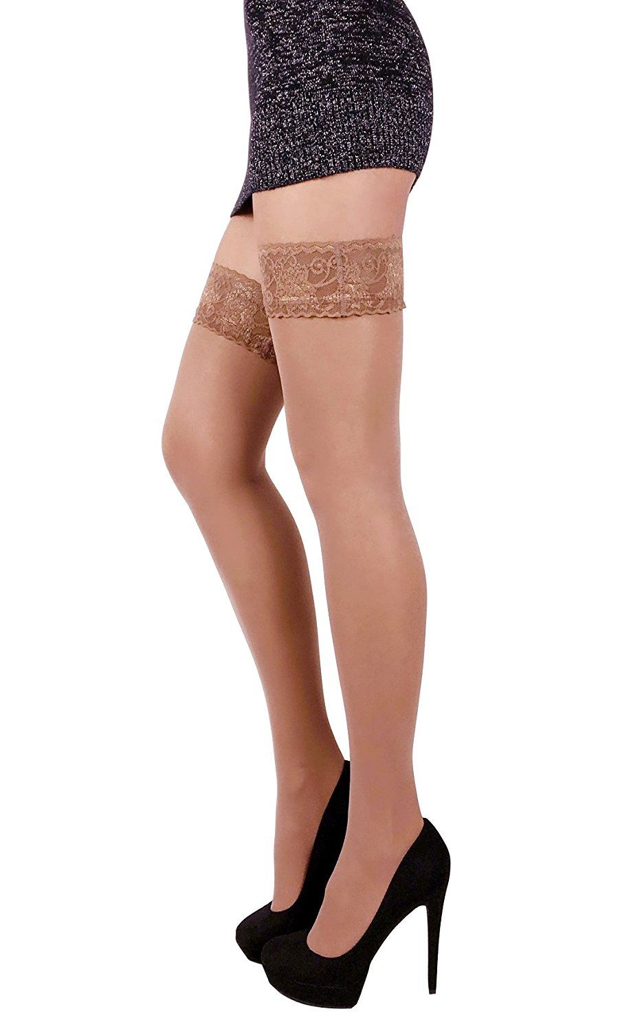 bab3d006dad Get Quotations · THIGH HIGH Sheer Lace Top Silicone Stockings Nylon Hosiery  20 Den S - XL