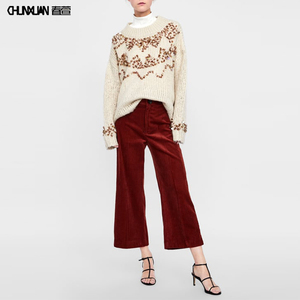 Custom Ladies High Waist Fall Vintage Wide Leg Corduroy Pants& Trousers