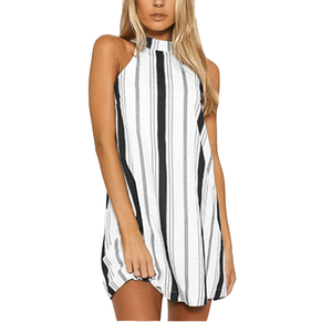 Women's dress summer sleeveless sexy hanging neck leaking back bow striped mini dress
