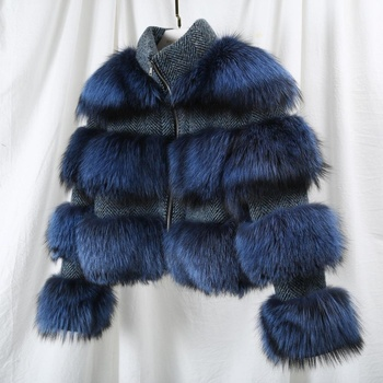 3 Color Italy Fashion Winter Thicken Women's Short Jacket Genuine Fur Free Size Jacket Dark Blue Raccoon Fur Coat
