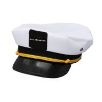 Vintage White Adjustable Skipper Sailors Navy Captain Boating Military Blank Captain hat