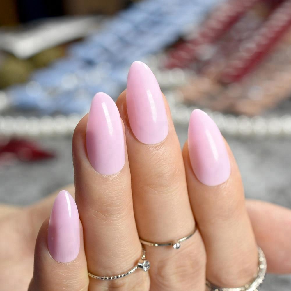 Alibaba.com / Stiletto Press On Nails Candy Light Pink Point Fake Nails Medium Size Full Wrap Nail Art Tips 24pcs/kit