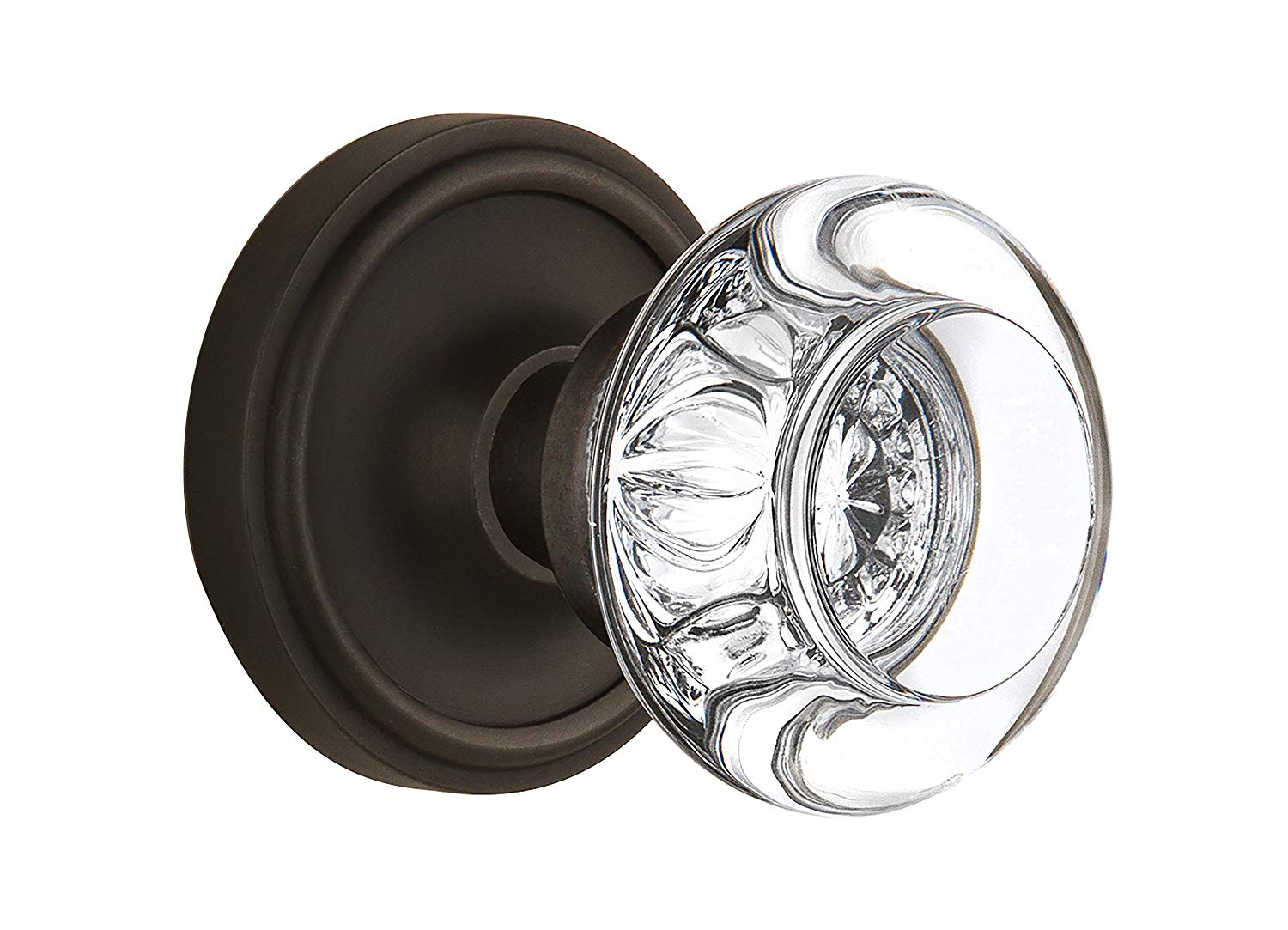 Nostalgic Warehouse Classic Rosette with Round Clear Crystal Glass Knob, Single Dummy, Oil Rubbed Bronze
