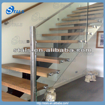 Stainless Steel Tempered Glass Wooden Staircase With Wall Mounted Wooden  Handrail