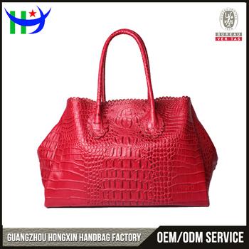 497735effa9b 2017 new trendy Red genuine crocodile leather handbag lady exotic crocodile  skin tote bag