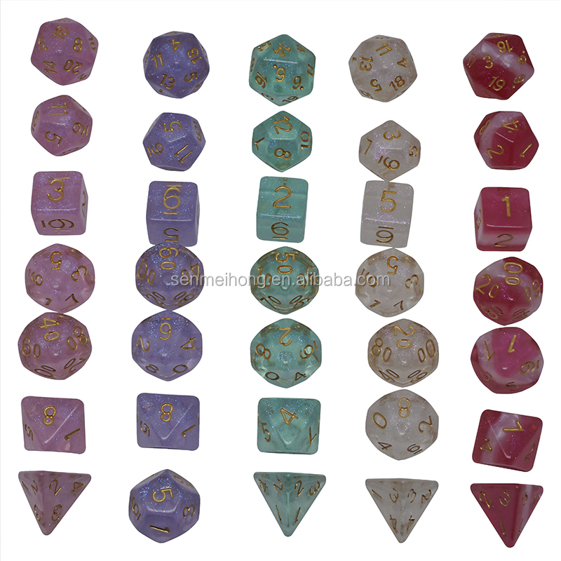 Custom Rose Purple Double-Color Jade Gradients Polyhedral Dice Sets for Dungeons and Dragons MTG RPG Game