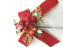 Customized red bow artificial christmas berry picks christmas poinsettia picks