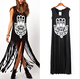 European and American fringed abstract eye pattern short-sleeved dress
