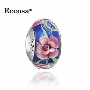 Yiwu Wholesale Flower In Bule Ocean 925 Sliver Murano Glass European Bead For Bracelets Accessories ETB078