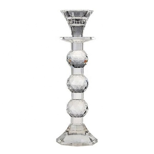 Pujiang Wholesale Crystal Ball Small Table Crystal Candlesticks With Factory Direct Cheap Price For Wedding Decor