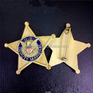 US deputy marshal metal lapel pin with eagle pattern and safty pin attachment