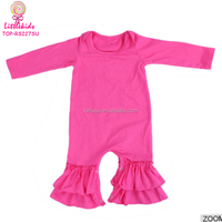 High Quality 95% Cotton Clothes Baby Boy Names Unique Bodysuits Designer Love Hot Pink Ruffle Long Sleeve Jumpsuit For Baby Girl
